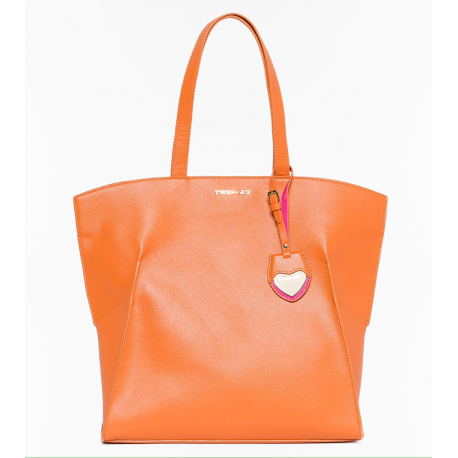 TWIN SET shopping in saffiano arancio