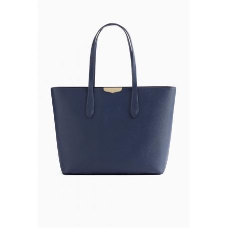 TWIN SET borsa pelle saffiano blu