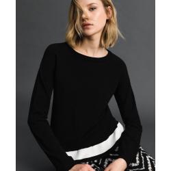 TWIN SET maglia con banda a contrasto